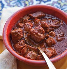 This hearty pork stew is a staple dish in New Mexico. It calls for New Mexico Chile Powder, an earthy, sweet chile powder available at many specialty stores. mexican recipes Red Chile and Pork Stew (Carne Adobada) Recipe Authentic Mexican Recipes, Best Mexican Recipes, Ethnic Recipes, Mexican Easy, Mexican Style, Biryani, Mexico Food, New Mexico, Comida Latina
