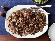 Braised Beef Brisket with Onions, Mushrooms, and Balsamic Recipe : Food Network