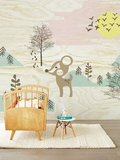 Eijffinger Tout Petit 354157 Bambi in the woods at Wallpaperwebstore