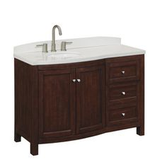 allen   roth�Moravia 48-in x 20-in Cherry Undermount Single Sink Bathroom Vanity with Cultured Marble Top