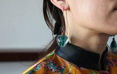 Handmade vintage green glass beads beautiful copper earrings.