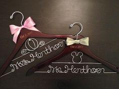 Disney Wedding Hanger / Bridal Hanger / Disney Wedding / Bride and Groom Hangers / Mickey & Minnie Wedding / Personalized Hanger on Etsy, $75.00