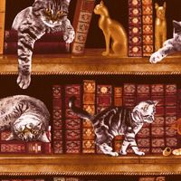 CATS IN THE LIBRARY FABRIC