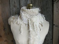 Handknit Mixed Media Scarf- Winter White and Gold- Mixed Fiber and Colors- Luxury Texture