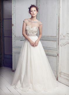 Collette Dinnigan Lattice Pearl Beaded Bodice Wedding Gown Sz14
