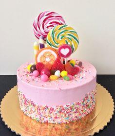 Candy Birthday Cakes, Birthday Wishes Cake, Candy Cakes, Cupcake Cakes, Cupcakes, Cake Designs For Kids, Cool Cake Designs, Lolly Cake, Beautiful Cake Designs