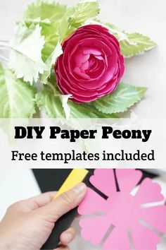 DIY easy paper peony flower with cardstock. Free SVG template cut files