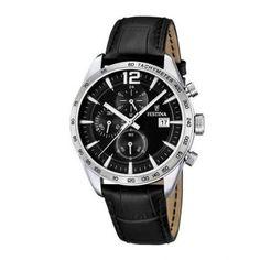 Ανδρικό ρολόι FESTINA F16760/4 με χρονογράφο ταχύμετρο, 24ωρη ένδειξη, ημερομηνία, μαύρο καντράν με μαύρο δερμάτινο λουρί | ΤΣΑΛΔΑΡΗΣ στο Χαλάνδρι #Festina #μαυρο #λουρι #ρολοι Bracelet Cuir, Color Negra, Casio Watch, Shoes Online, Omega Watch, Watches For Men, Accessories, Galeries Lafayette, Unique