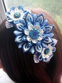 Kanzashi diadema/tela flor diadema flor duro/banda cabeza