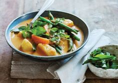 Thai Green Bean Curry with Pineapple and Sweet Potatoes   Blending part of the sweet potatoes into the broth of this hearty dish yields a rich, creamy curry base without an excessive amount of coconut milk.