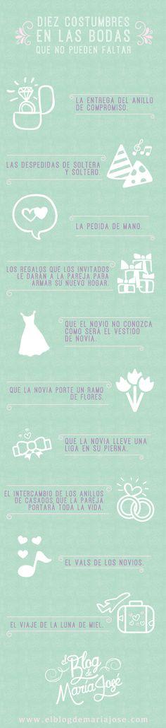 Diez costumbres en las bodas que no pueden faltar #bodas #elblogdemaríajosé #infografía