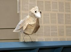 Paper Bird with Book Page Feathers - Kate Burger