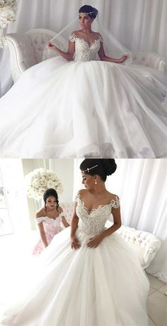 Ball Gown Cap Sleeves Sweep Train Wedding Dress with Appliques Pearls, glamorous ball gown wedding dresses, elegant off the shoulder bridal gowns with lace - Wedding Day African Wedding Dress, Maxi Dress Wedding, Wedding Dress Train, Wedding Dresses 2018, Wedding Dress Trends, Tulle Wedding, Gown Wedding, Modest Wedding, Wedding White