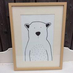 Kinderbild Zeichnung Eisbär schwarz-weiß