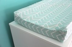 mint chevron contoured changing pad cover by iviebaby on Etsy, $35.00