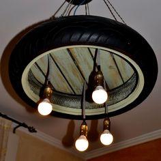 #tire #suspensionlamp #chandelier #handmade #recycle #redesign