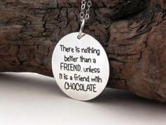 There is nothing better than a friend ... 925-silver FRIENDSHIP necklace ... Handmade Jewelry .. Your choice of inspirational quote ... BFF