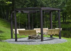 firepit with porch swings