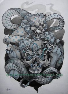 Foo Dog, Skull and snake by on deviantART. Very impressive design: Dog Skull, Bird Skull, Skull Art, Snake Tattoo, Lion Tattoo, Body Art Tattoos, Sleeve Tattoos, Foo Dog Tattoo Design, Hannya Tattoo