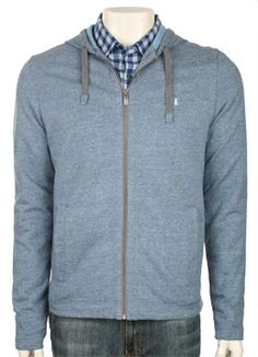 In Time Zip Hoodie - Nordic Blue Heather knit long sleeve shirts Original Penguin Clothing