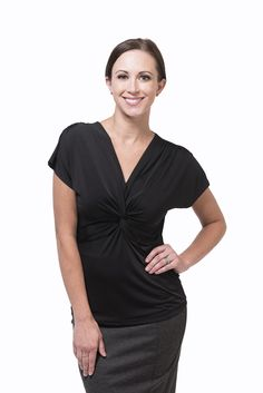 Our Fit Truly universally flattering, it nips in at just the right spot then floats away from the tummy nicely and has just enough upper arm coverage. The Vn. Knot Front Top, Professional Women, Work Fashion, Girl Boss, Black Tops, Knots, Arm, V Neck, Display