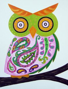 Pink Paisley Owl Baby Wall Art / Child Wall Art by ModernKidsArt, $65.00