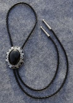 Black and Silver Finish Bolo Tie with Black Onyx Stone - Black Leather Cord - Silver Finish Tips on Etsy, ฿1,166.33