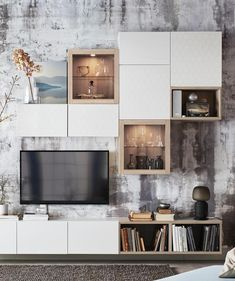 Visit IKEA online and find storage ideas and explore our range of storage furniture. Ikea Living Room, Living Room Tv, Living Room Tv Unit, Living Room With Fireplace, Living Room Designs, Home Living Room, Home Remodeling, House Interior, Home Furnishings