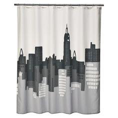 Cityscape shower curtain for superhero bathroom.
