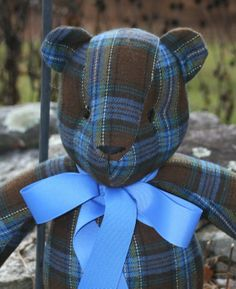 Blue Brown and Cream Plaid Wool Blend Bear by jamandbiscuits, $49.00