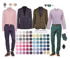"""""""Soft Summer Male"""" by colourmatchme ❤ liked on Polyvore featuring Paul Smith, River Island, J.Crew, Carven, Billabong, 21 Men, Ray-Ban, Suunto and Stefano Ricci"""
