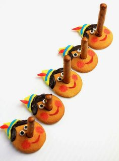 """""""DIY Pinocchio Cookies"""" -- How CUTE! Click through for complete instructions with photos of how to create these. It's hard to tell in this photo, but the pretzel lengths are varied, depending on the size of the lie Pinocchio told! Cute Cookies, Yummy Cookies, Cupcake Cookies, Comida Disney, Disney Food, Disney Recipes, Pinocchio, Shrek, Fun Crafts For Kids"""