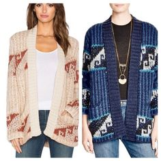 FREE PEOPLE slouchy cardi Ribbed shawl collar, long sleeves, open-front silhouette Geometric pattern, two front slit pockets Acrylic/wool 2411986 Retail: $168 Sizes: ❗️please note colors available in which sizes when ordering❗️ Cream: M Blue: XS  ❤I have over 300 new with tag Free People items for sale! I love to offer bundle discounts!  ❤No trades. love the item but not the price? Submit an offer! Free People Sweaters