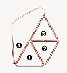モールはこのように通してゆく   短い場合は貫通させて   長い場合は半分程度差し込む     図のように全部が2重になるように通してゆく   これが基本となって出来てゆきます         長さを変えて組みあげて   この正八面体をつないでゆきます ですので 無限の拡が...