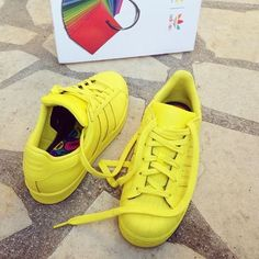 Adidas Superstar Supercolor yellow trainers @carlasmiiile