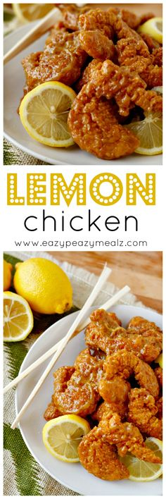 Lemon Chicken: This is a shortcut lemon chicken that uses already breaded chicken tenders and finger licking good sauce for a fantastic weeknight meal! - Eazy Peazy Mealz