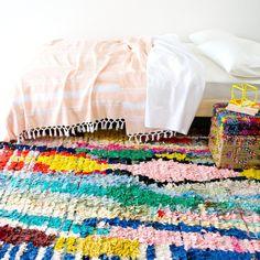 moroccan vintage boucherouite rug