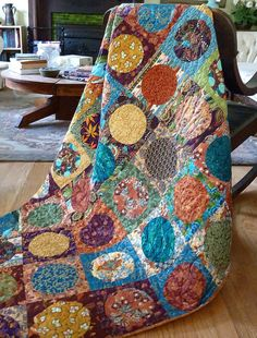 Geometric Circles Patchwork Quilt Lap Couch Throw - Modern Contemporary Urban Boho Quilt - Rich Jewel Tone Colors - Handmade Homemade