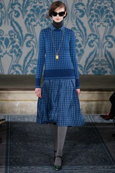part librarian/ part fashionista  in blue  Tory Burch Fall 2013 Ready-to-Wear