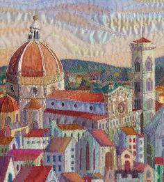 "'A Room with a View"" an original hand embroidered textile by Rachel Wright. Looking out across the rooftops of Florence towards the Campanile and Duomo."