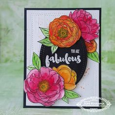 Peonies from the Peonies on Parade set by PTI and sentiment by Honeybee Stamps Honey Bee Stamps, Clear Stamps, Floral Watercolor, Peonies, Floral Card, Ink, Handmade Cards, Instagram Posts, Crafts