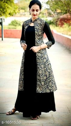 Splendid Black Rayon Women's Kurti with Jacket Size : M (Bust - inches) L (Bust - inches) XL (Bust - inches) (Bust - inches) Color : Black Fabric : Rayon Type : Stitched Style : Solid Delivery : Within business days Sleeves Designs For Dresses, Dress Neck Designs, Kurti Neck Designs, Kurta Designs Women, Blouse Designs, Indian Gowns Dresses, Indian Fashion Dresses, Indian Designer Outfits, Fancy Dress Design