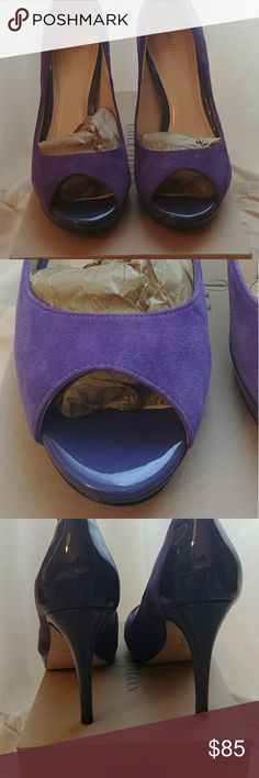 Cole Haan purple peep toe pumps size 8 Beautiful vivid purple Cole Haan pumps in suede and patent leather. New, never worn. Uses Nike Air technology to make them more comfortable than other heels. Slight platform on front. Box, dust bags, and all accessories included. Cole Haan Shoes Heels