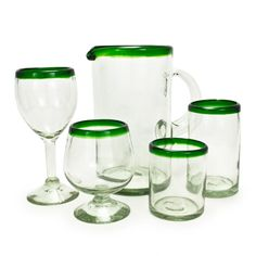I need classy wine glasses!!   Green Rim Recycled Glassware Collection (491563038), Recycled Glassware Sets, Carnival Glass & More   bambeco