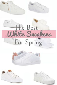 """Shoes for Spring: The Best of White Sneakers - """"Fashion Inspiration"""" - Sneaker Outfits Women, Sneakers Fashion Outfits, Shoes Sneakers, Womens Casual Sneakers, Sneakers Style, Tennis Sneakers, Sneakers Women, Casual Heels, Shoes Style"""