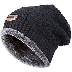 Men/'s black hat beanie reversible thinsulate insulation black /& grey winter xmas