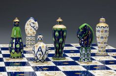 CHESS SET AND BOARD, AROUND 1923-25, SÈVRES MANUFACTORY, FRANCE.