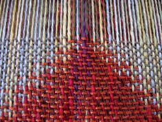 Double Weave Coral Scarf - work in progress on the loom