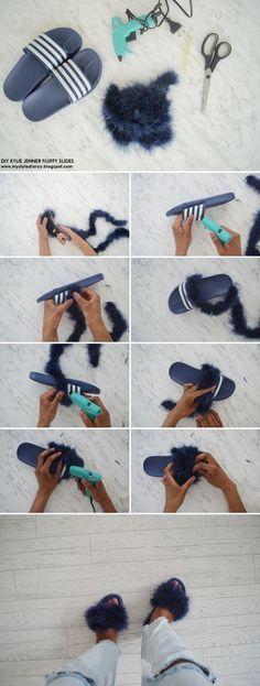 DIY kylie jenner fluffy slides (mother's day gift) – Gift Ideas Flip Flops Diy, Kendall Jenner Outfits, Kylie Jenner, Diy Fashion, Ideias Fashion, Fluffy Slides, Shoe Makeover, Fashion Bubbles, Diy Kleidung