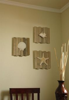 Beach house decor wall - I can use our bathroom shell for this an mount it outside! Great idea!